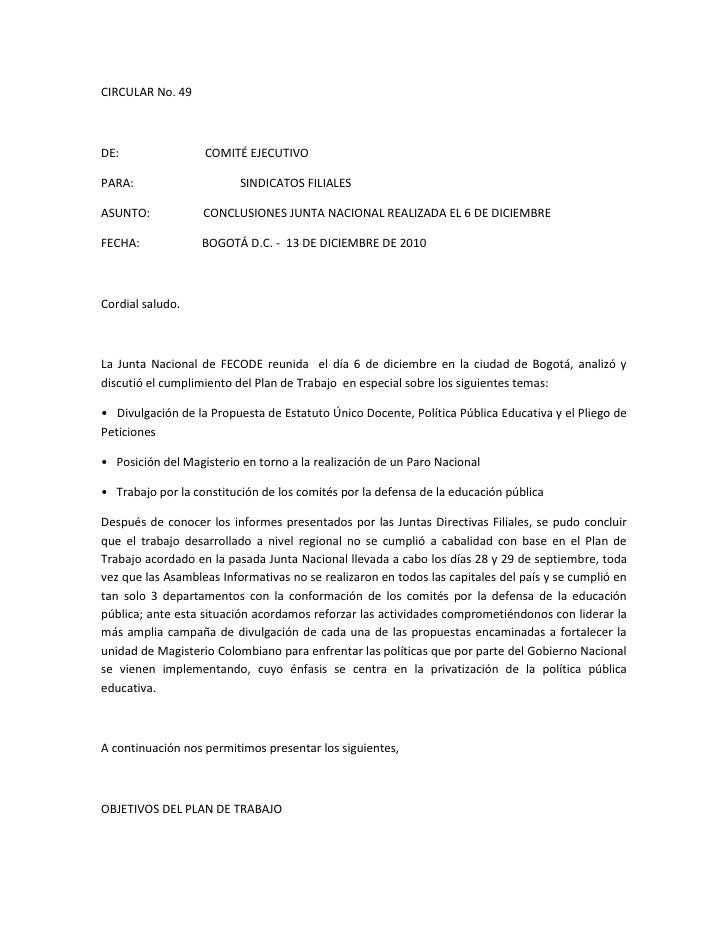 CIRCULAR No. 49<br /> <br />DE:                             COMITÉ EJECUTIVO<br />PARA:                                   ...