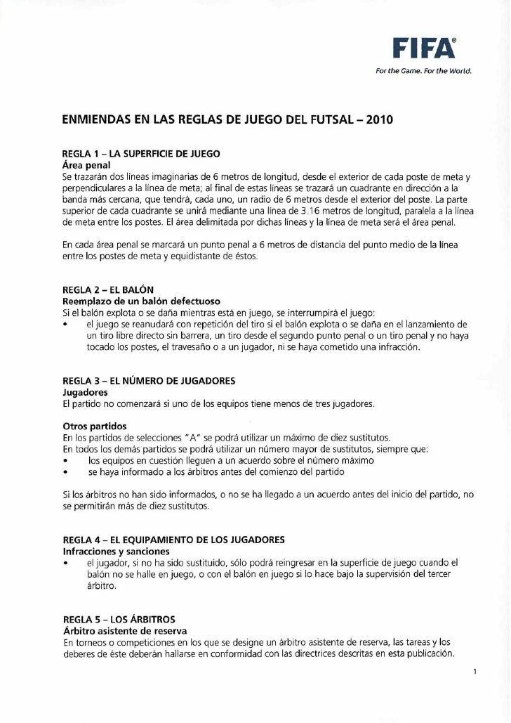 Reglamento de futbol sala al 2010 for 10 reglas del futbol de salon