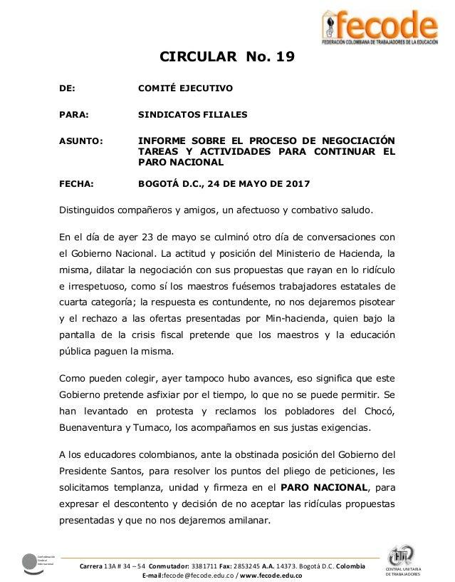 CENTRAL UNITARIA DE TRABAJADORES Confederación Sindical Internacional Carrera 13A # 34 – 54 Conmutador: 3381711 Fax: 28532...