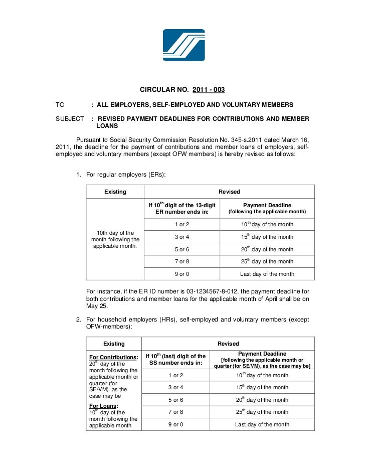 CIRCULAR NO. 2011 - 003TO          : ALL EMPLOYERS, SELF-EMPLOYED AND VOLUNTARY MEMBERSSUBJECT     : REVISED PAYMENT DEADL...