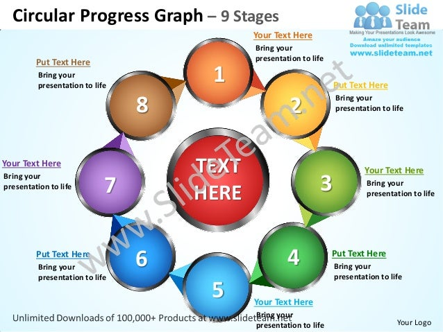 Circular progress graph 9 stages powerpoint templates 0712