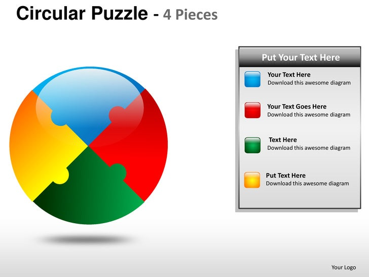 Circular Puzzle 4 Pieces Powerpoint Presentation Templates