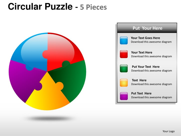 Circular Puzzle 5 Pieces Powerpoint Presentation Templates