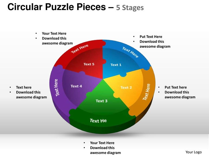 circular puzzle pieces 5 stages powerpoint templates, Modern powerpoint