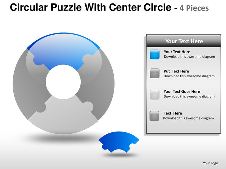 Template 3 Circular Puzzle With Center Circle