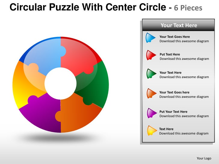 Circular puzzle with center 6 powerpoint presentation templates ccuart