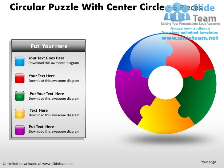 circular puzzle with center circle 5 pieces power point slides and pp