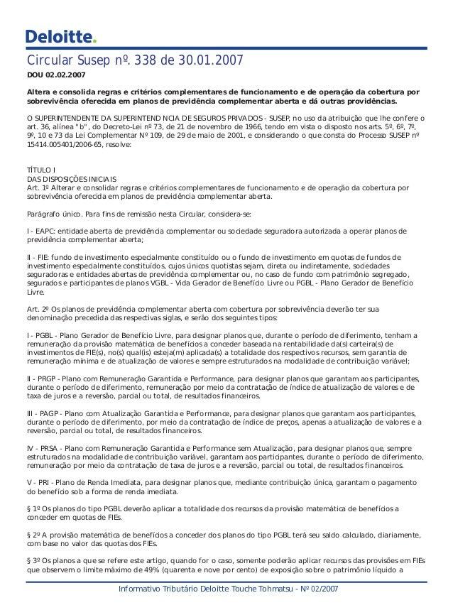 Circular Susep nº. 338 de 30.01.2007 DOU 02.02.2007 Altera e consolida regras e critérios complementares de funcionamento ...