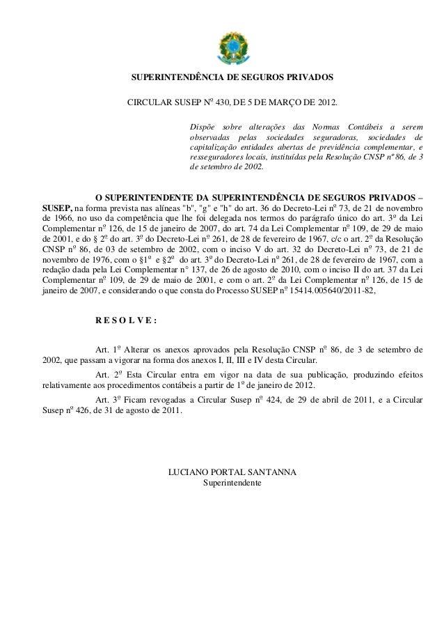 SUPERINTENDÊNCIA DE SEGUROS PRIVADOS CIRCULAR SUSEP No 430, DE 5 DE MARÇO DE 2012. Dispõe sobre alterações das Normas Cont...