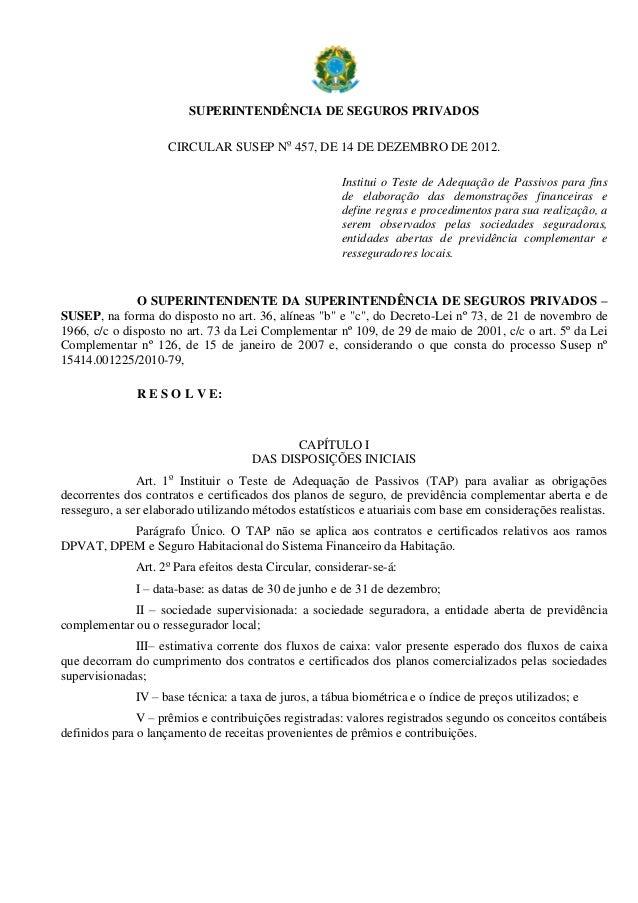 SUPERINTENDÊNCIA DE SEGUROS PRIVADOS CIRCULAR SUSEP No 457, DE 14 DE DEZEMBRO DE 2012. Institui o Teste de Adequação de Pa...