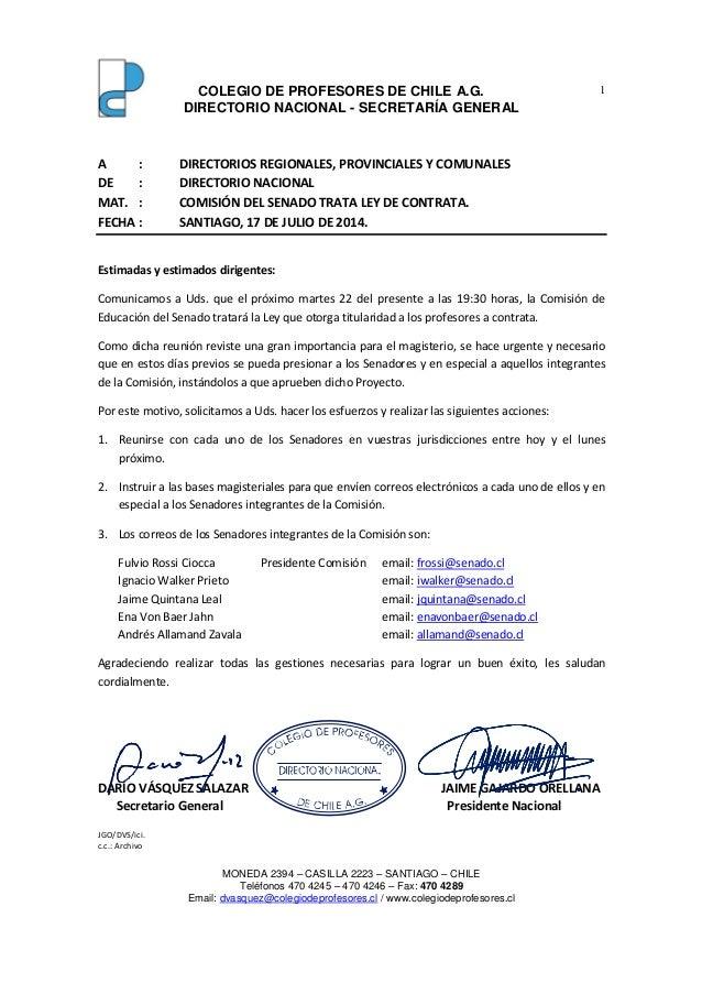 COLEGIO DE PROFESORES DE CHILE A.G. DIRECTORIO NACIONAL - SECRETARÍA GENERAL MONEDA 2394 – CASILLA 2223 – SANTIAGO – CHILE...