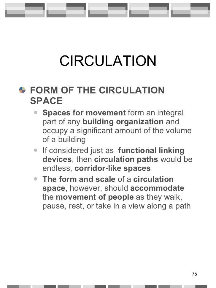 CIRCULATION <ul><li>FORM OF THE CIRCULATION SPACE </li></ul><ul><ul><li>Spaces for movement  form an integral part of any ...
