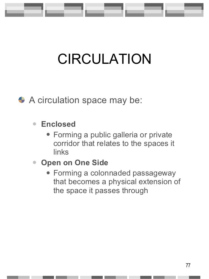 CIRCULATION <ul><li>A circulation space may be: </li></ul><ul><ul><li>Enclosed </li></ul></ul><ul><ul><ul><li>Forming a pu...