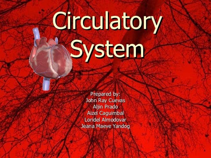 Prepared by: John Ray Cuevas Aljin Prado Aizel Caguimbal Loridel Almodovar Jeana Maeve Yandog Circulatory System