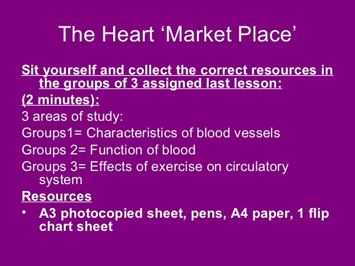 The Heart 'Market Place'Sit yourself and collect the correct resources in   the groups of 3 assigned last lesson:(2 minute...