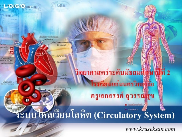 L/O/G/O ระบบไหลเวียนโลหิต (Circulatory System) www.kruseksan.com วิทยาศาสตร์ระดับมัธยมศึกษาปีที่ 2 โรงเรียนแก่นนครวิทยาลัย...
