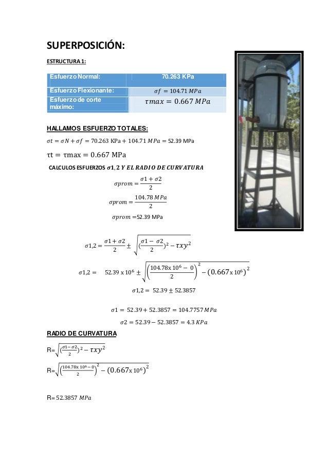 SUPERPOSICIÓN: ESTRUCTURA 1: HALLAMOS ESFUERZO TOTALES: 𝜎𝑡 = 𝜎𝑁 + 𝜎𝑓 = 70.263 KPa + 104.71 𝑀𝑃𝑎 = 52.39 MPa τt = τmax = 0.6...