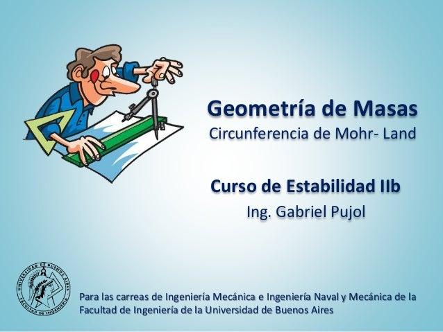 Geometría de Masas Circunferencia de Mohr- Land Curso de Estabilidad IIb Ing. Gabriel Pujol Para las carreas de Ingeniería...