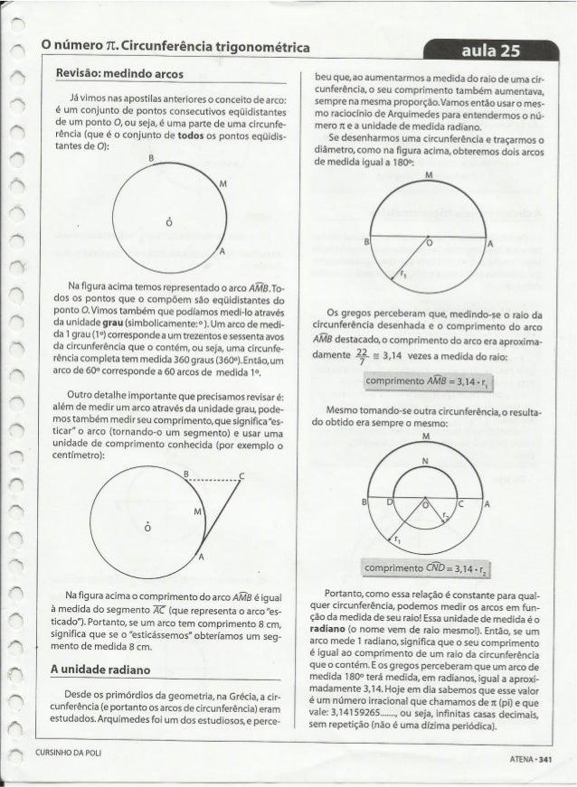 Ac  O número TC.  Circunferência trigonométrica  Revisão:  medindo arcos  Já vimos nas apostilas anteriores o conceito de ...