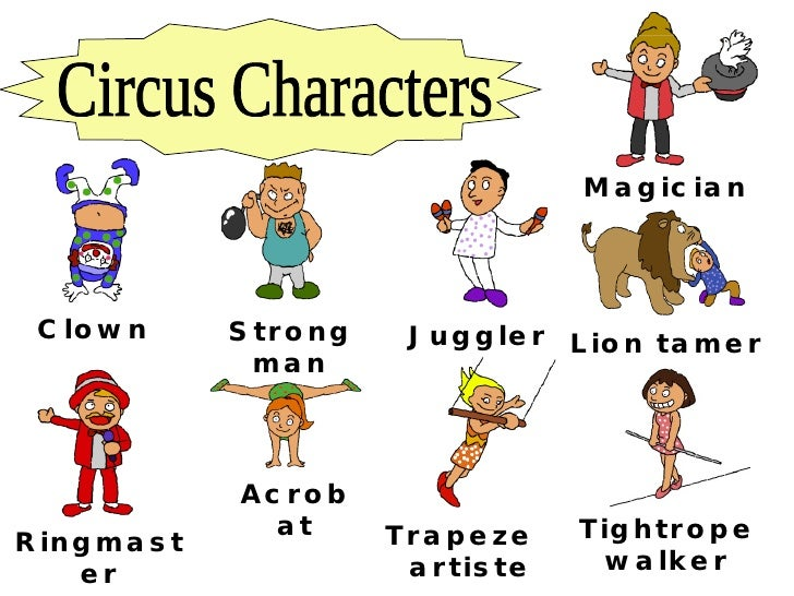 Circus Characters Clown Strong man Juggler Trapeze  artiste Ringmaster Lion tamer Acrobat Tightrope walker Magician