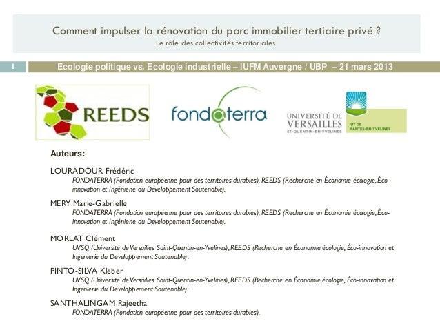 Auteurs: LOURADOUR Frédéric FONDATERRA (Fondation européenne pour des territoires durables), REEDS (Recherche en Économie ...