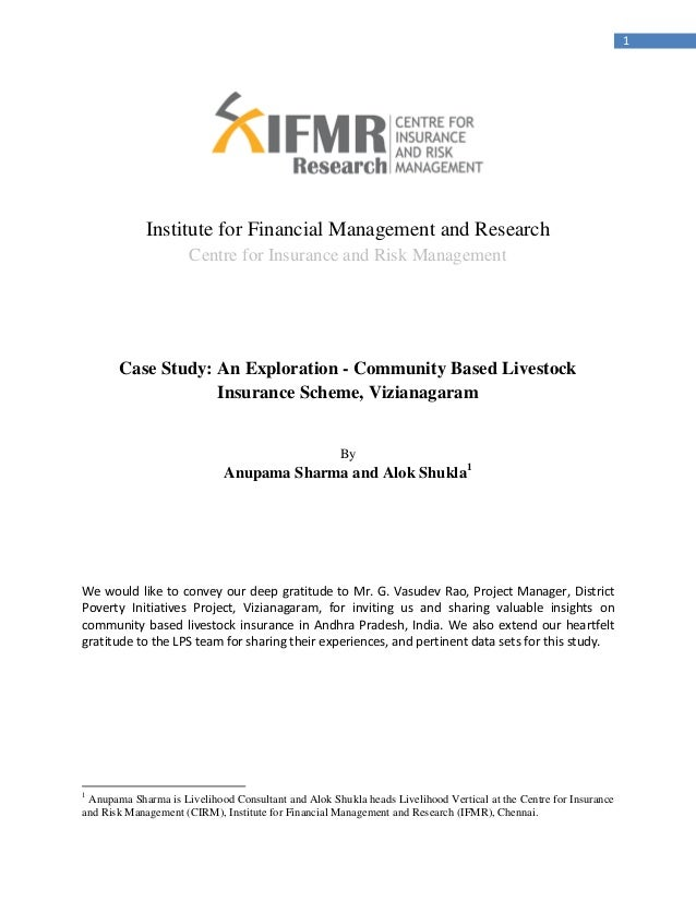 1                  Institute for Financial Management and Research                       Centre for Insurance and Risk Man...