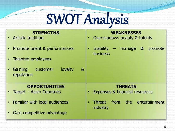 swot analysis cirque de soleil It's generally believed that the way to beat your rival is to outperform or outpace them but in business, the better way to win is to create uncontested new market space where no competition exists consider cirque du soleil, a performance that broke away from traditional circus shows by.