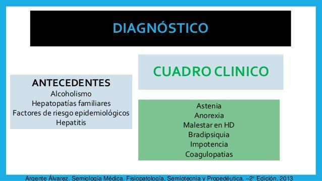 DIAGNÓSTICO ANTECEDENTES Alcoholismo Hepatopatías familiares Factores de riesgo epidemiológicos Hepatitis CUADRO CLINICO A...