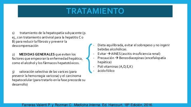 TRATAMIENTO - Dieta equilibrada, evitar el sobrepeso y no ingerir bebidas alcohólicas. - Evitar  AINES (ascitis-insuficie...