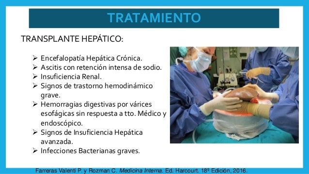 TRATAMIENTO TRANSPLANTE HEPÁTICO:  Encefalopatía Hepática Crónica.  Ascitis con retención intensa de sodio.  Insuficien...