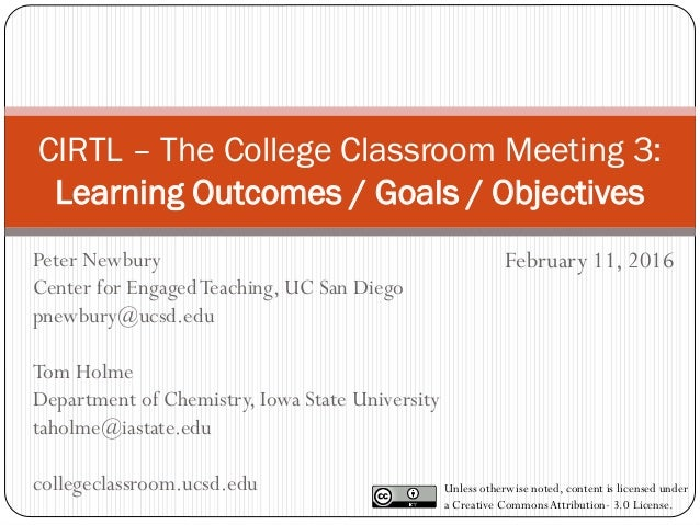 CIRTL – The College Classroom Meeting 3: Learning Outcomes / Goals / Objectives February 11, 2016 Unless otherwise noted, ...