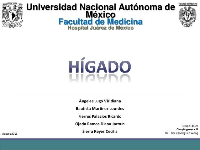 Universidad Nacional Autónoma de México Facultad de Medicina Hospital Juárez de México  Ángeles Lugo Viridiana Bautista Ma...