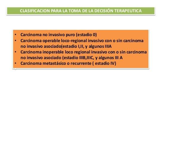 CLASIFICACION PARA LA TOMA DE LA DECISIÓN TERAPEUTICA • Carcinoma no invasivo puro (estadio 0) • Carcinoma operable loco-r...