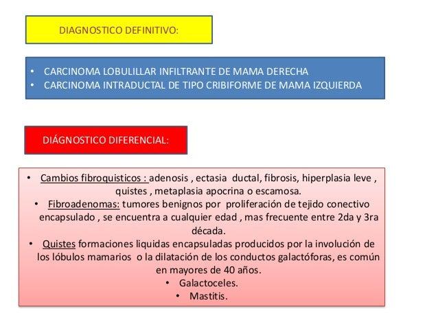 DIAGNOSTICO DEFINITIVO: • CARCINOMA LOBULILLAR INFILTRANTE DE MAMA DERECHA • CARCINOMA INTRADUCTAL DE TIPO CRIBIFORME DE M...