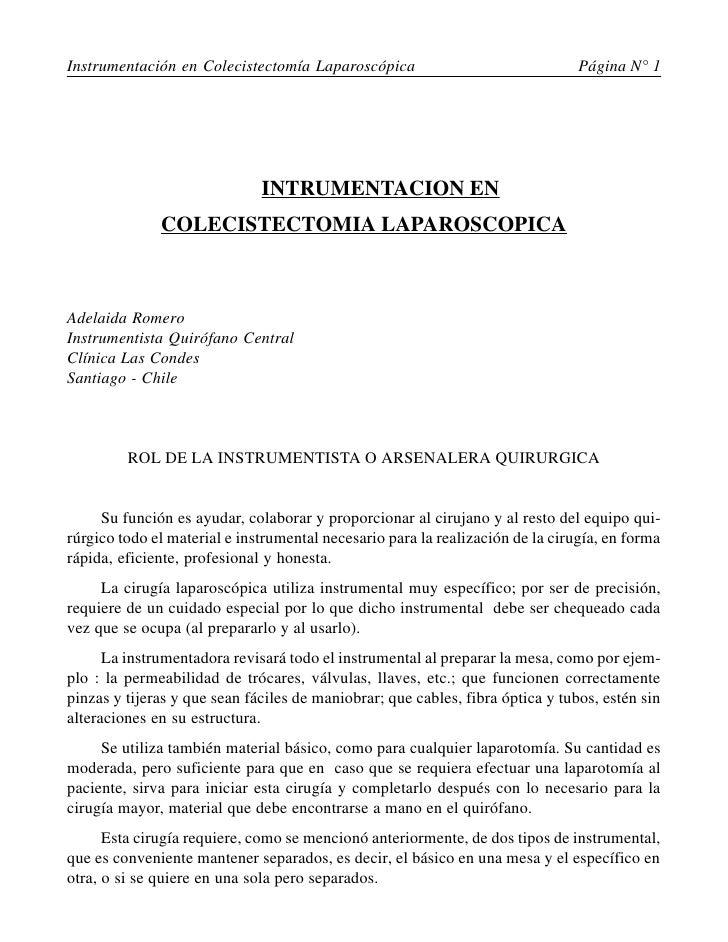 Instrumentación en Colecistectomía Laparoscópica                                Página N° 1                               ...