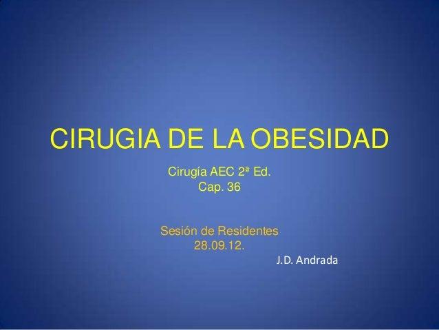 CIRUGIA DE LA OBESIDAD Cirugía AEC 2ª Ed. Cap. 36 Sesión de Residentes 28.09.12. J.D. Andrada