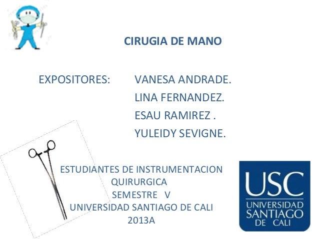 CIRUGIA DE MANO EXPOSITORES:  VANESA ANDRADE. LINA FERNANDEZ. ESAU RAMIREZ . YULEIDY SEVIGNE.  ESTUDIANTES DE INSTRUMENTAC...