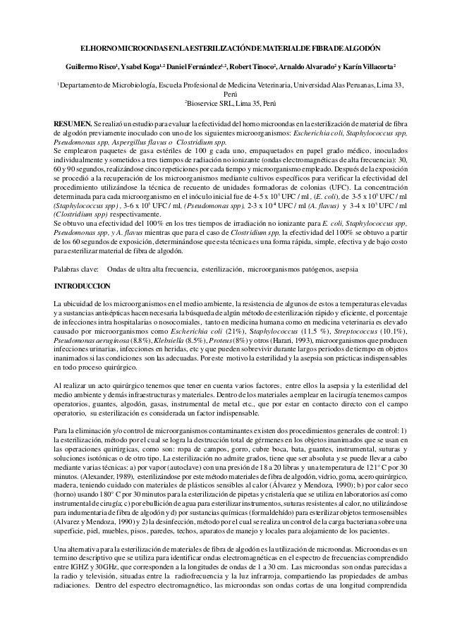 ELHORNO MICROONDAS EN LA ESTERILIZACIÓN DE MATERIALDE FIBRADEALGODÓN     Guillermo Risco1, Ysabel Koga1,2 Daniel Fernández...