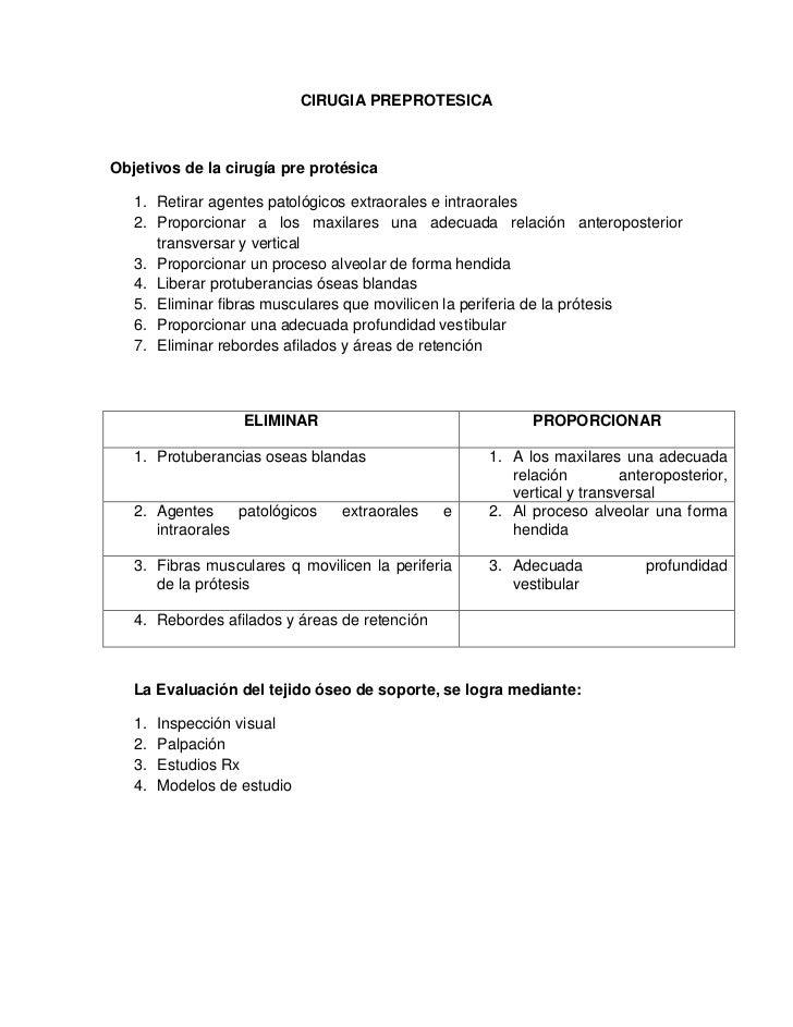 CIRUGIA PREPROTESICA<br />Objetivos de la cirugía pre protésica<br />Retirar agentes patológicos extraorales e intraorales...