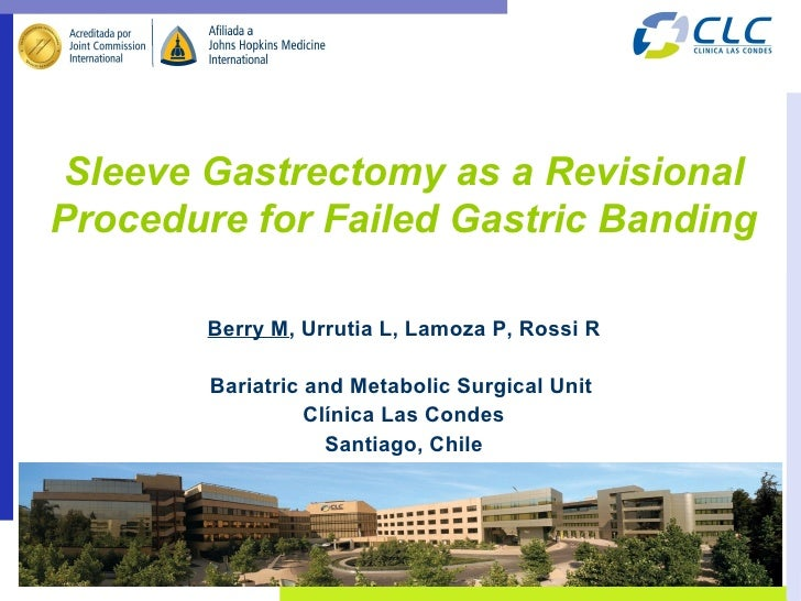 Sleeve Gastrectomy as a RevisionalProcedure for Failed Gastric Banding        Berry M, Urrutia L, Lamoza P, Rossi R       ...