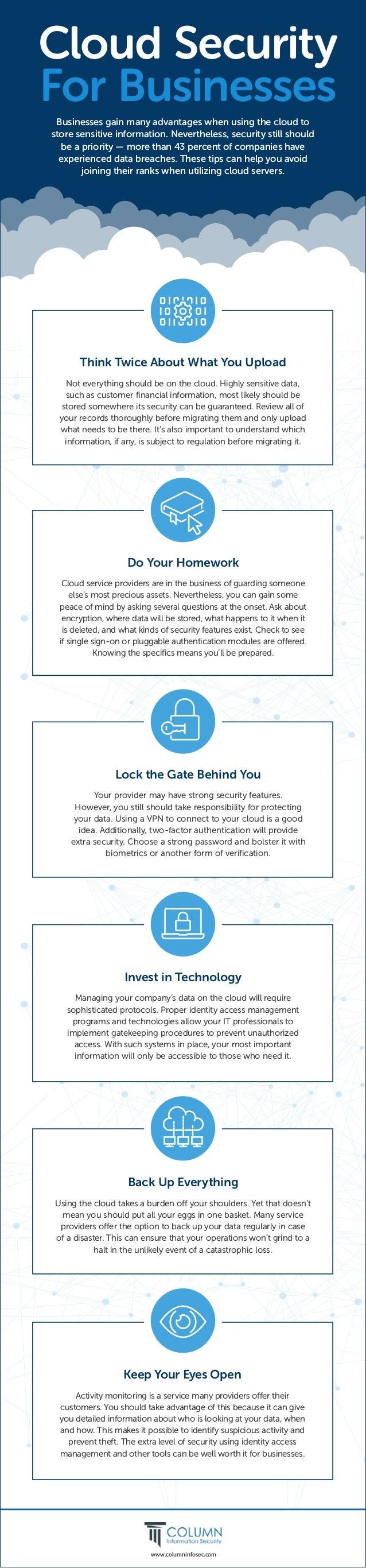 www.columninfosec.com Cloud Security For Businesses Businesses gain many advantages when using the cloud to store sensitiv...