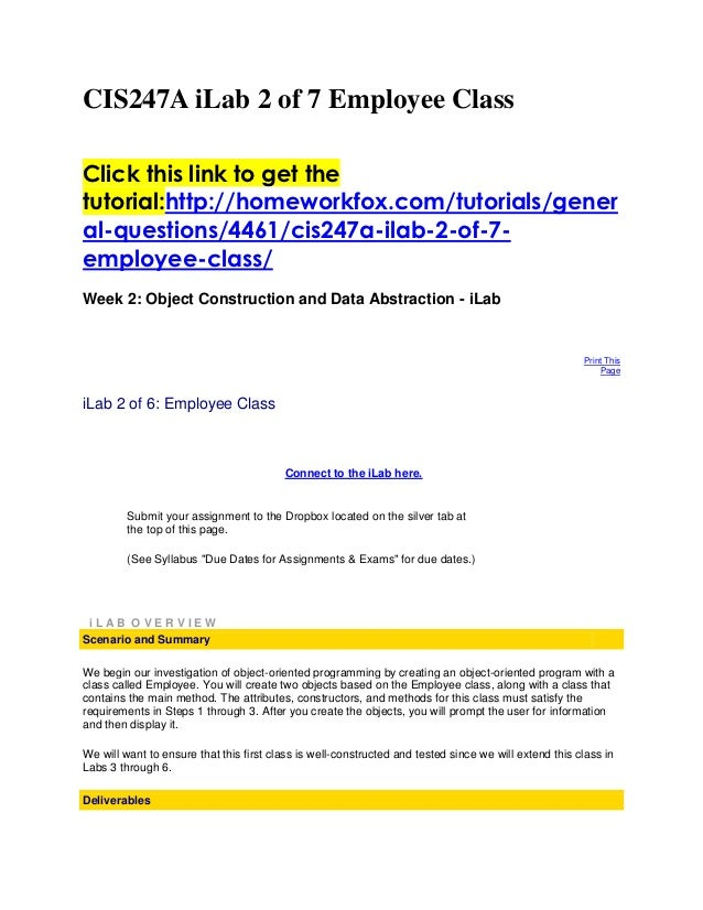 CIS247A iLab 2 of 7 Employee ClassClick this link to get thetutorial:http://homeworkfox.com/tutorials/general-questions/44...