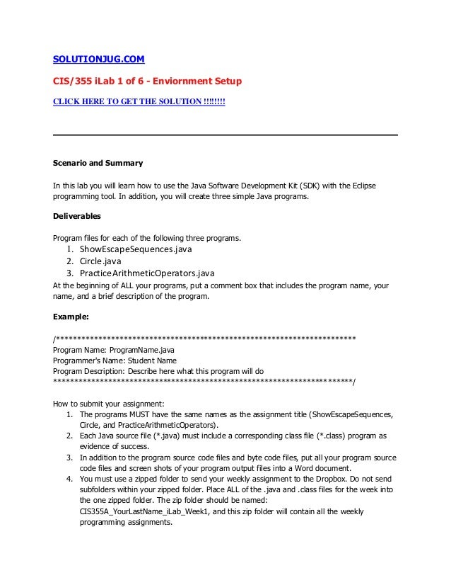 SOLUTIONJUG.COMCIS/355 iLab 1 of 6 - Enviornment SetupCLICK HERE TO GET THE SOLUTION !!!!!!!!Scenario and SummaryIn this l...