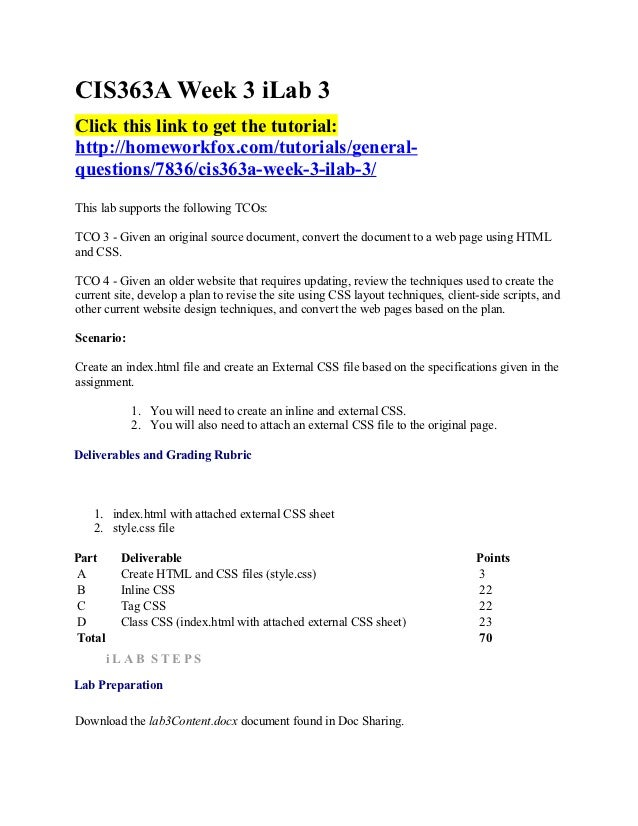 CIS363A Week 3 iLab 3Click this link to get the tutorial:http://homeworkfox.com/tutorials/general-questions/7836/cis363a-w...