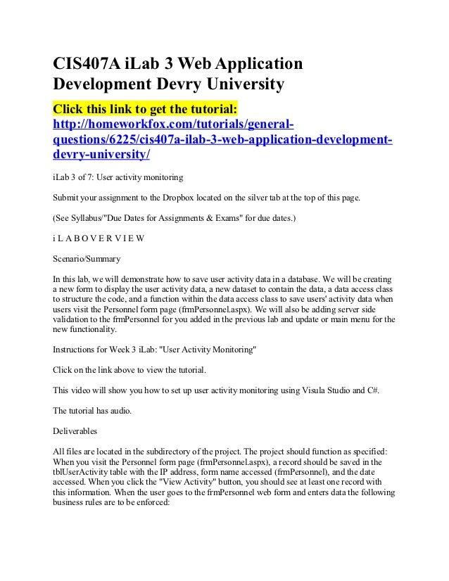 CIS407A iLab 3 Web ApplicationDevelopment Devry UniversityClick this link to get the tutorial:http://homeworkfox.com/tutor...