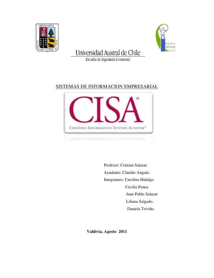 SISTEMAS DE INFORMACION EMPRESARIAL                  Profesor: Cristian Salazar                  Ayudante: Claudio Angulo....