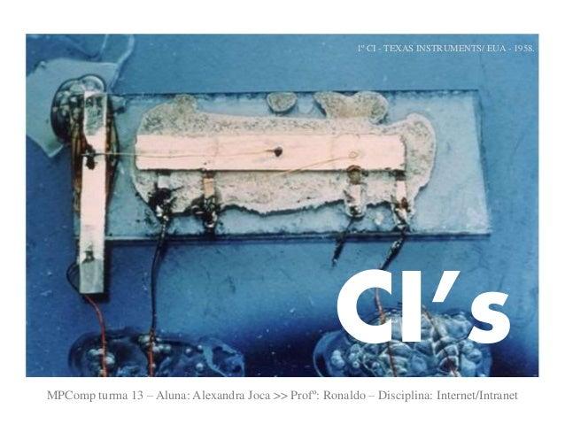 1º CI - TEXAS INSTRUMENTS/ EUA - 1958.  CI's  MPComp turma 13 – Aluna: Alexandra Joca >> Profº: Ronaldo – Disciplina: Inte...