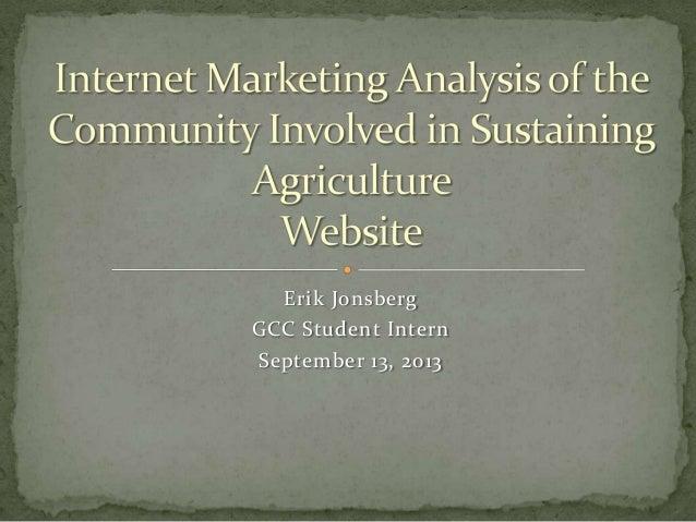 Erik Jonsberg GCC Student Intern September 13, 2013