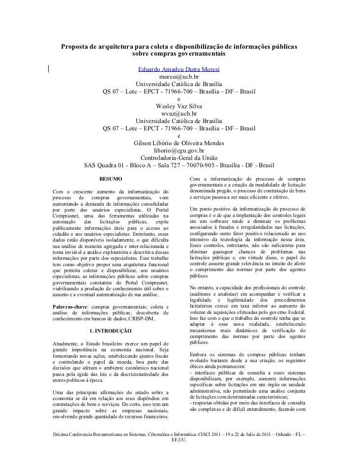 Proposta de arquitetura para coleta e disponibilização de informações públicas                           sobre compras gov...