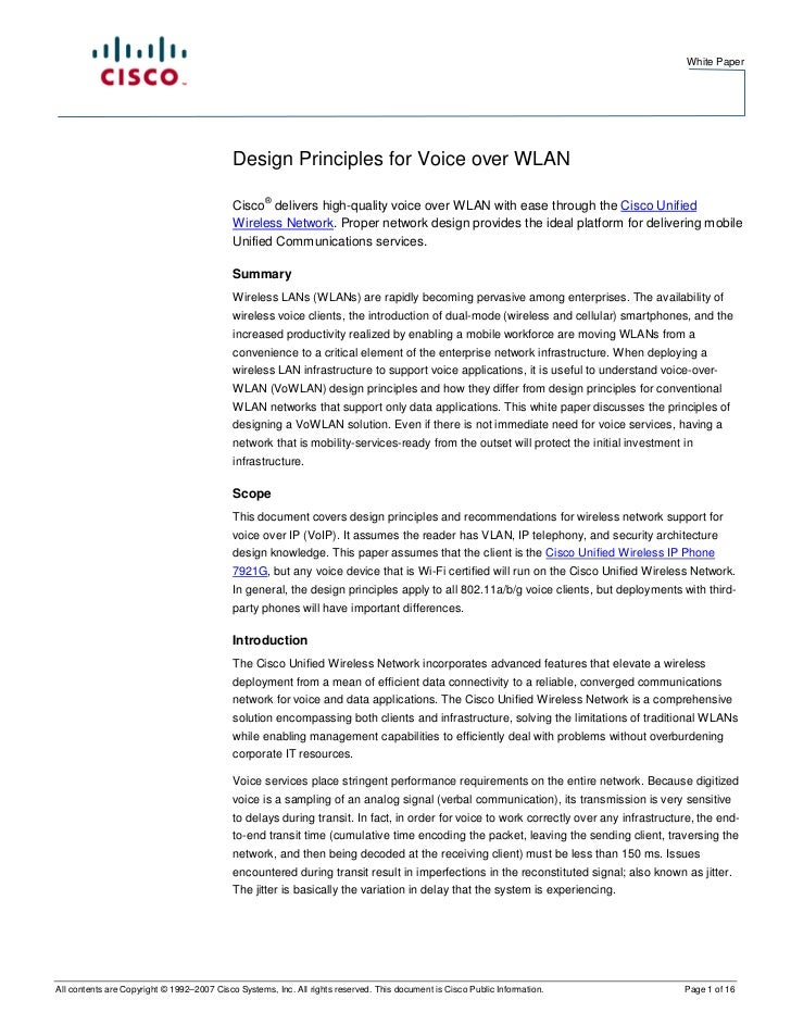 White Paper                                            Design Principles for Voice over WLAN                              ...